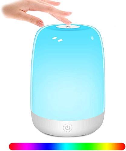 Tanbaby LED Nachttischlampe, Berührungssensitives Tischlampe mit 6 RGB Farbwechsel Modi & 3 Helligkeitsstufen, Dimmbar Nachtlicht für Babys, Jugendliche, Schlafzimmer, Wohnzimmer, Büro, Camping