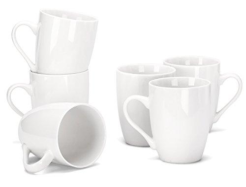 MIWARE - Juego de tazas de porcelana de 12 onzas, juego de 6 tazas de té y café, color blanco, Blanco, 354,88ml