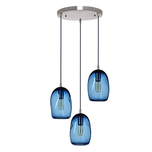 Chandelier Blue Glass Pendant Light