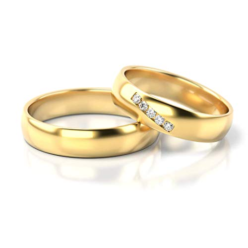 JC Trauringe Silver 925 pair of wedding rings, gold plated, engagement rings, 4.5 mm wide, partner rings with engraving in elegant box, 2 wedding rings, men's ring and women's ring with stones, PL270
