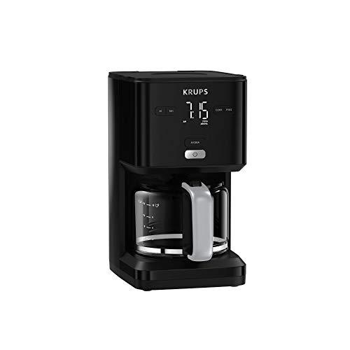 Krups KM6008 Smart'n Light Filterkaffeemaschine | intuitives Display | 1,25 L Fassungsvermögen für bis zu 15 Tassen Kaffee | Auto-Off-Funktion | Anti-Tropf System | 24-Stunden-Timer | Schwarz