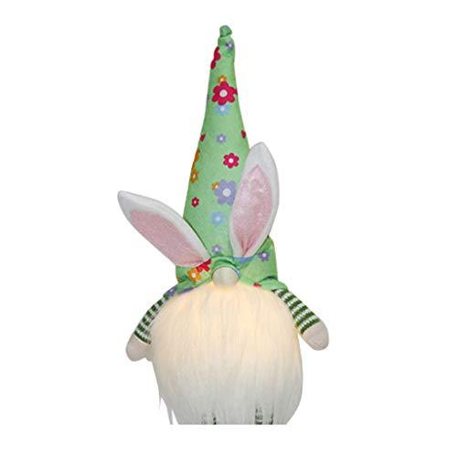 YUZI Decoración de Pascua, gnomo de conejo de Pascua con luz LED hecho a mano sueco Tomte conejo de peluche juguetes de muñeca