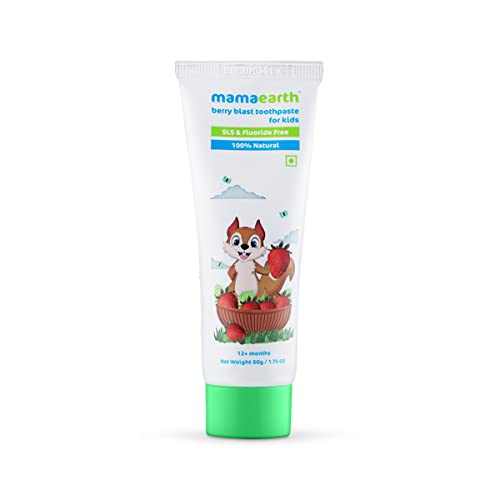 Mamaearth 100% Natural Berry Blast Kids Toothpaste 50 Gm, Fluoride Free, SLS Free, No Artificial Flavours, Best for baby