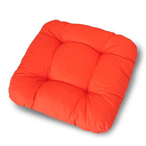 LILENO HOME 4er Set Stuhlkissen Hellrot (38x38x8 cm) - Sitzkissen für Gartenstuhl, Küche oder Esszimmerstuhl - Bequeme UV-beständige Indoor u. Outdoor Stuhlauflage als Stuhl Kissen