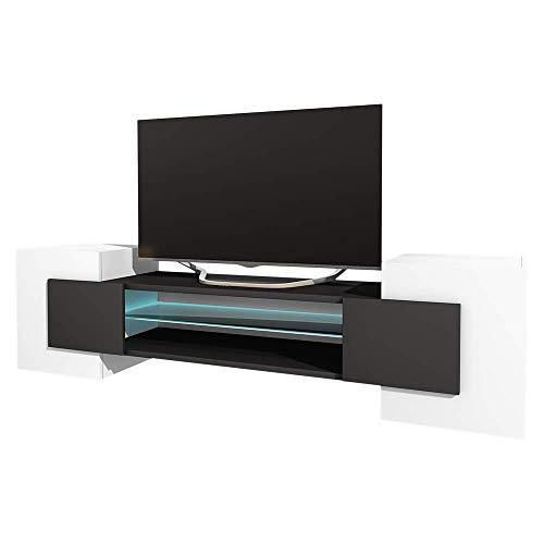 Selsey GAELIN - Mobile TV Moderno/Porta TV per Salotto/Tavolino TV 160 cm/Luci LED/Bianco e Nero