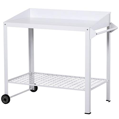 Outsunny Garden Outdoor Metal Potting Table Bench Planting Workstation Push Cart with Wheels Side Hanger - White
