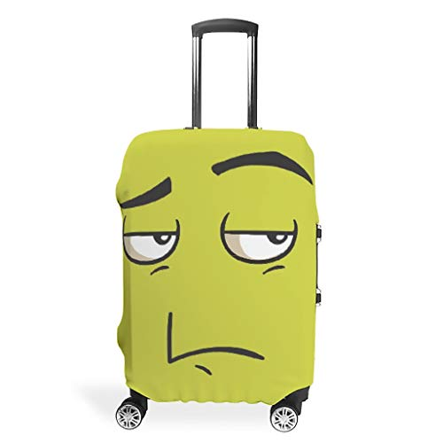 Lind88 Unwilling Face Travel Luggage Case Covers - Funny Expression Trendy Multi Size for Lots of Suitcase White 19-21in