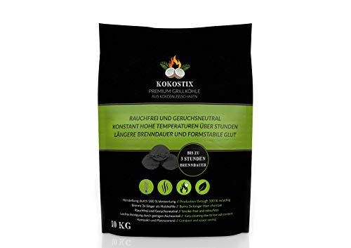 V2 FOODS Kokostix Grillkohle aus Kokos-Kohle - extra Lange Brenndauer - gleichbleibende Hitzeabgabe - 10kg im Karton oder Sack (10kg Sack)