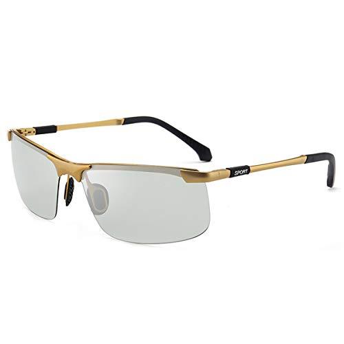 Hengtaichang Sunglasses NEW Brand Photochromic Sunglasses Men Polarized Chameleon Discoloration Sun Glasses For Men Fashion Rimless Square Sunglasses Golden frames
