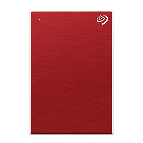 Seagate Backup Plus Slim, 1 TB, Hard Disk Esterno Portatile, USB 3.0, per PC Desktop, PC Portatili e Mac, Rosso, 2 Anni di Servizi Rescue (STHN1000403)