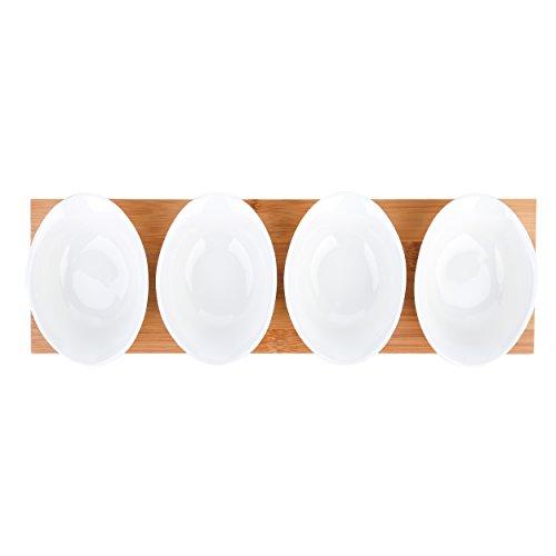 vancasso Servizio da Tavola in Porcellana Set di Ciotole Ceramica Combinazione Piattini, Vassoi per Aperitivi e Tapas Fruttiere Insalatiere Colore Bianca Crema, Set 4 Pezzi con Un Vassoio di Legno