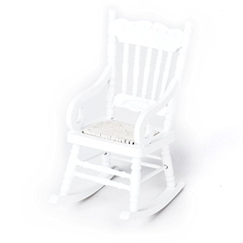 TOOGOO 1/12 Miniature Dollhouse Wooden Rocking Chair Model White