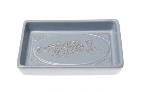 caramondo Seifenschale Seifenteller Keramik Blau- Grau mit Blumenmuster Romantik- Look