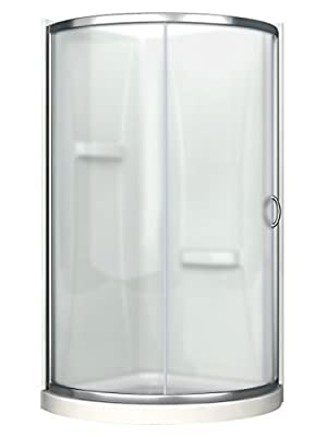 Ove Decors Breeze 36 in x 76 in. Frosted Glass Sliding Door + Acrylic Walls and Base Kit Round Corner Shower, Inch, Chrome Finish