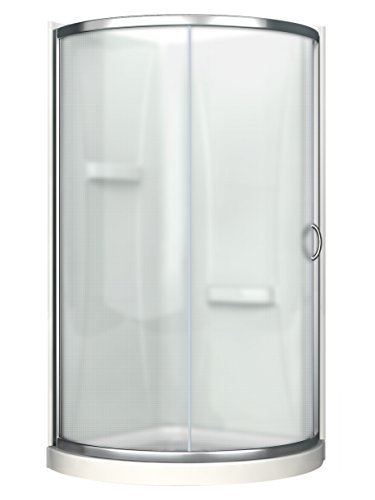 Ove Decors Breeze 36 in x 76 in. Frosted Tempered Glass Sliding Door + Acrylic Walls and Base Kit Round Corner Shower, Inch, Chrome Finish