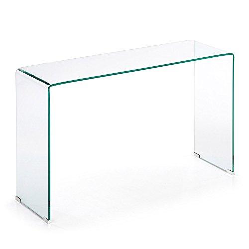 Kave Home - Consolle allungata Burano in vetro temperato transparente 125 x 40 cm
