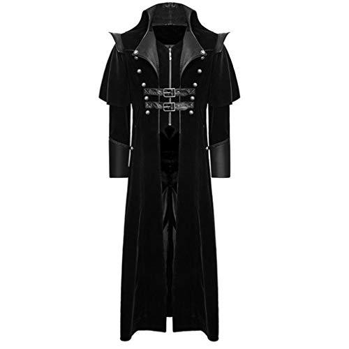 AmyGline Steampunk Herren Mantel Frack Jacke Gothic Gehrock Stehkragen Smoking Uniform Kostüm Party Outwear Lange Parka Party Cosplay Kostüm