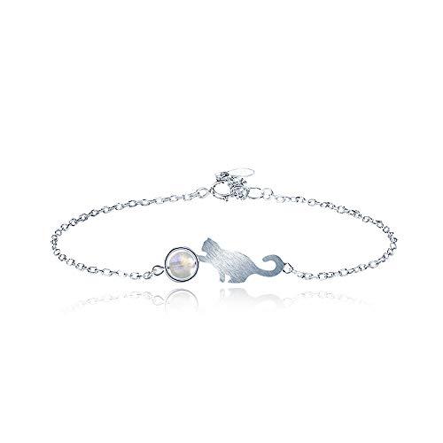 WikiMiu Armband Damen Silber 925, Katze Mond Stein Design, Süßer Modeschmuck, perfektes Geschenk für Frauen zum Geburtstag Valentinstag