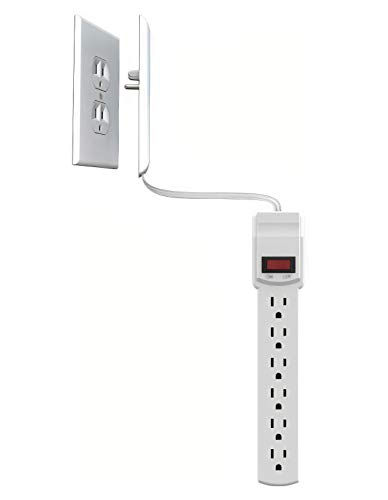 Sleek Socket UltraThin Electrical Outlet Cover with Surge Protector 6 Outlet Power Strip and Cord Management Kit 6Foot Universal Size