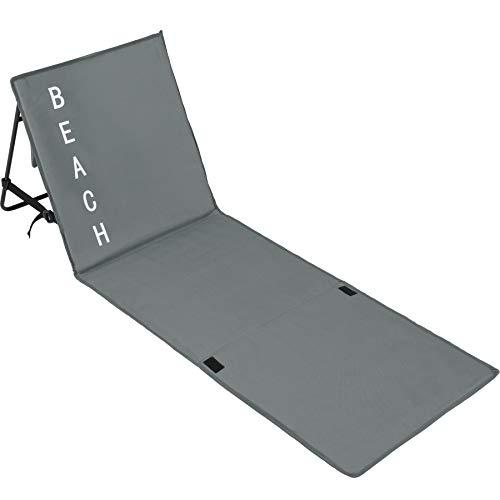 tectake 403858 Gepolsterte Strandmatte mit Verstellbarer Rückenlehne und praktischem Tragegurt, grau