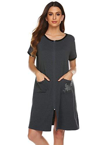 Ekouaer Sleepwear Women Zipper Front House Coat Lightweight Soft Robe Short Nightgown Dark Grey