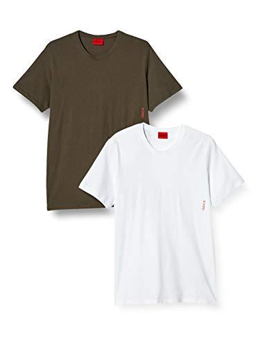 HUGO T-Shirt RN Twin Pack Camiseta, Open Green362, L 2 para Hombre