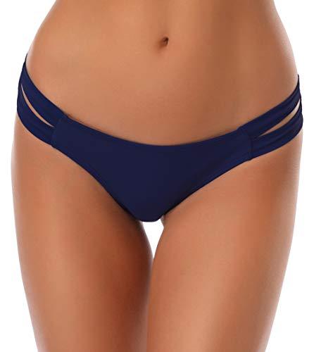 SHEKINI Damen Niedrige Taille Bikini Bottom Bademode Tanga Bikinihose Chic Aushöhlen Brazilian Bikini Slip (XL,Dunkelblau)