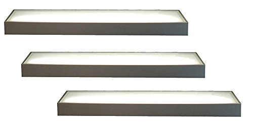 3er-Set LED Wandregal beleuchtet - Glasbodenleuchte Edelstahloptik 90cm, neutralweiß, mit 2m Kabel und Schalter