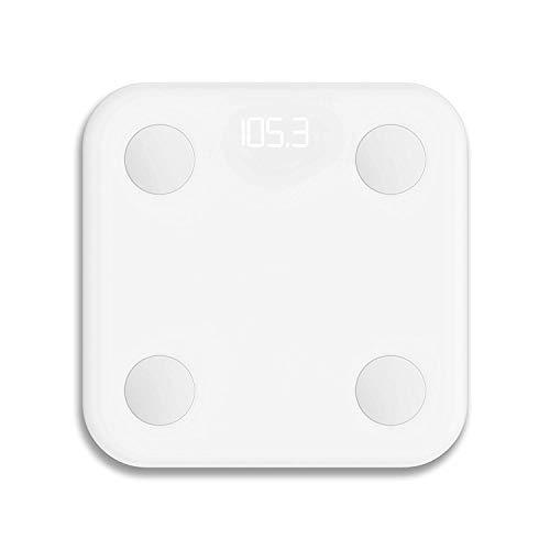 Xiaomi Body Composition Scale, 10 Precise Body Data Points, Store up to 16 User Profiles, Strong Tempered Glass with Anti-Slip Finish - White