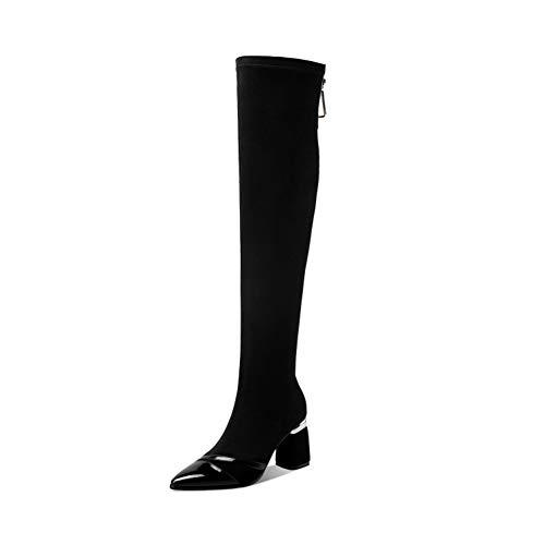 Damskie buty na wysokim obcasie, zamszowe buty damskie ze stretchem, buty na grubym obcasie zakolanówki w szpic, buty damskie z zamkiem błyskawicznym na plecach
