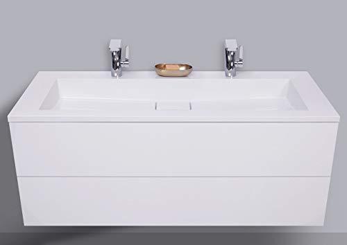 Intarbad ~ Badmöbel Set grifflos Doppelwaschtisch 120 cm, Unterschrank mit Led Lichtspiegel Halifax Eiche Natur IB1491