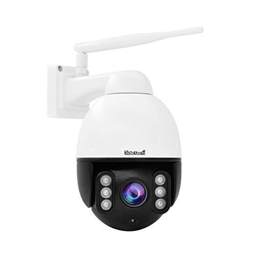 Überwachungskamera aussen WLAN,5MP PTZ WiFi Dome IP Kamera Outdoor Unterstützt 4X optischen Zoom, 2 Kanal Audio 30m Nachtsicht, IP66 Onvif Überwachung, Unterstützung 128 GB SD Karte