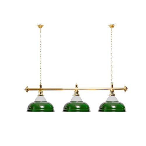 Lampadario da biliardo con 3 paralumi, verde con supporto in vetro/oro