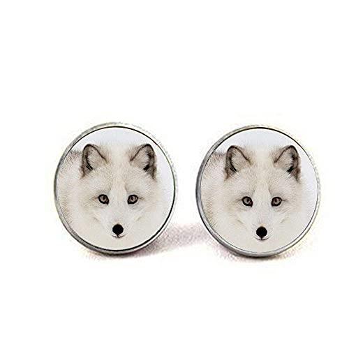 Arktis-weißer Fuchs-Ohrringe, Fantasy-Schmuck, Polarfuchs-Art-Schmuck, Tiergeschenk