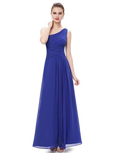 Ever Pretty Damen Elegant One Shoulder Faltenwurf Abendkleider Festkleider 09905, blau, Gr. 34