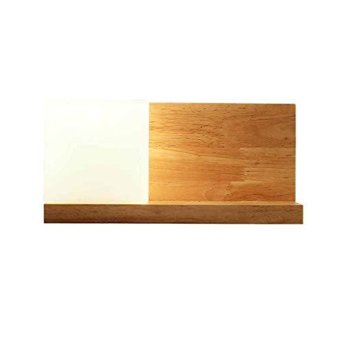 Lampade da parete in legno massello con mensola, plafoniere da comodino camera da letto moderna, specchio creativo a specchio, luce corridoio personalizzata A+