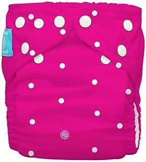 Charlie Banana Diaper Plus 2 Inserts, White Polka Dots on Hot Pink