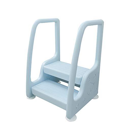 MH-24 2-Stufen-Hocker Stuhl Für Kinder, Mit Armlehnen, Vielseitiger Tritthocker Für Kleinkinder, Rutschfester Kinderfußhocker, Kleinkinderhocker Für Töpfchentraining(Color:Blau)