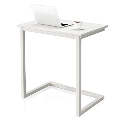 VIPEK Sofa C Side End Table Wood Accent Couch Table Coffee Tray Snack Side Table Notebook Laptop Holder Over Bed Stand Reading Desk White Color 22x14x26.4 Inch Space Saving for Living Room Bedroom