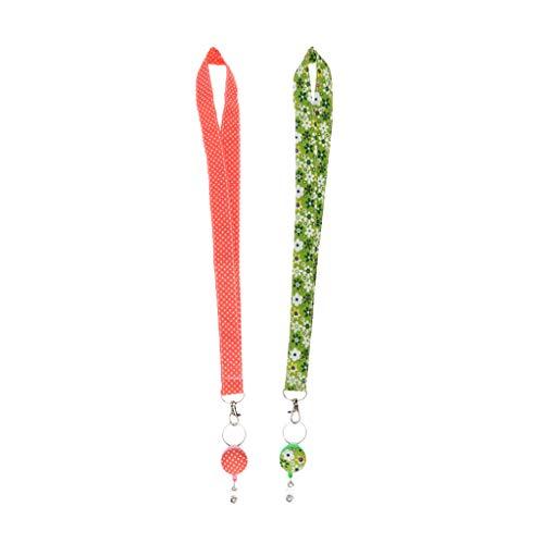 F Fityle 2pcs Correas Florales Lanyard ID Badge Titulares Collar Metal Langosta Llavero