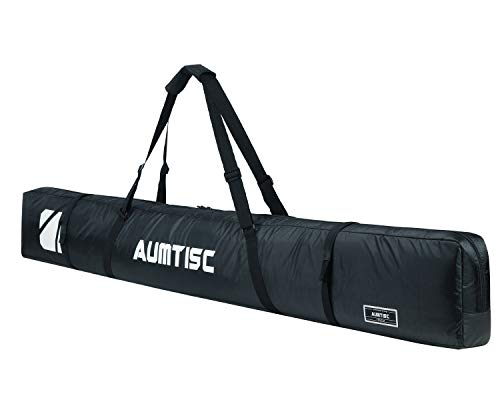 AUMTISC Single Ski Bag Travel Padded to Transport Skis Gear Pocket with Adjustable Handle 185cm Black