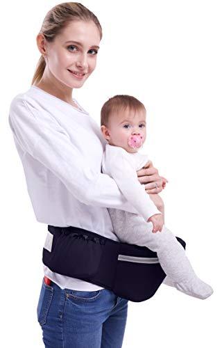 ThreeH Portador de asiento de cadera de bebé Cojín de asiento de 15 mm Cinturón ajustable Tres bolsillos Conveniente taburete de cintura BC27 Navy