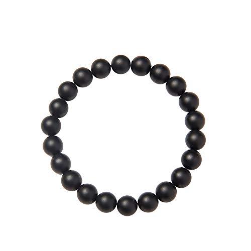 SUNNYCLUE Natural genuino mate niebla negro ágata piedras preciosas perlas Pulsera elástico 8 mm Ronda Perlas de aproximadamente 7 'unisex