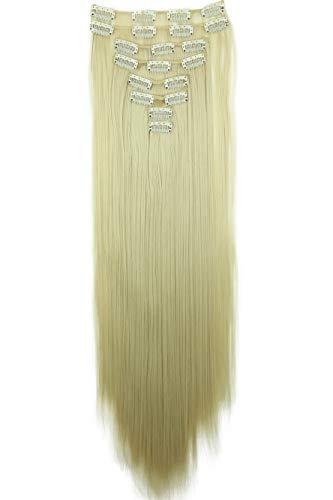 PRETTYSHOP XXL 60cm 8 Teile Set CLIP IN EXTENSIONS Haarverlängerung Haarteil Glatt Hellblond CES8
