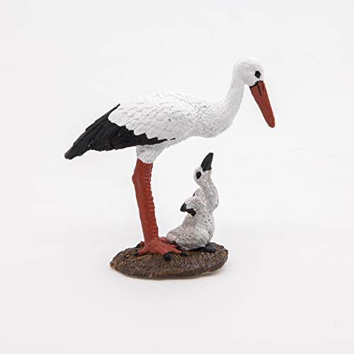 Papo 50159 Storch mit Storchjunges WILDTIERE DER Welt Figur, Mehrfarben