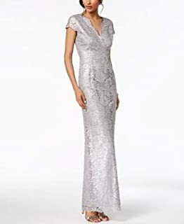 ADRIANNA PAPELL Womens Silver Metallic Lace Gown Cap Sleeve V Neck Maxi Evening Dress US Size: 2