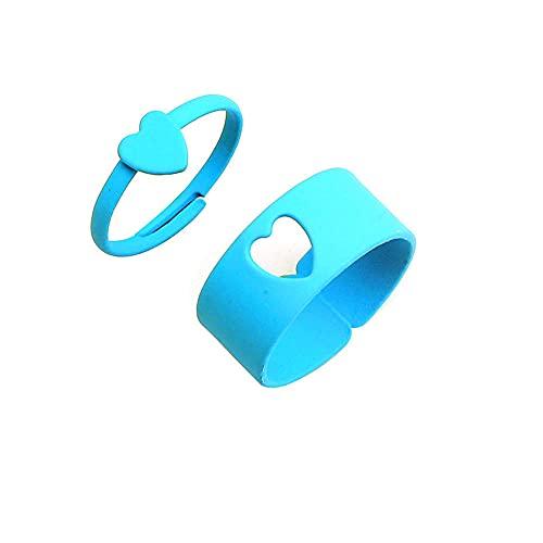 2 anillos abiertos de amor de color caramelo para las mujeres anillos de dedo para niñas amantes de parejas-azul