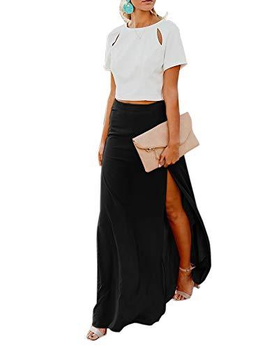 Imily Bela Womens High Waisted Chiffon Flowy Vintage Skirts Side Split Long Maxi Bottom Black