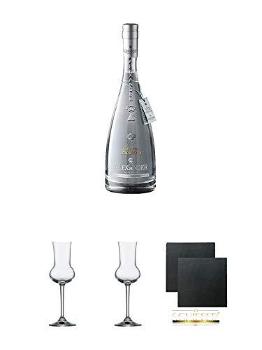Alexander Grappa di Prosecco Trester 0,7 Liter (weiße Flasche) + Grappaglas Stölzle 1 Stück - 205/26 + Grappaglas Stölzle 1 Stück - 205/26 + Schiefer Glasuntersetzer eckig ca. 9,5 cm Ø 2 Stück