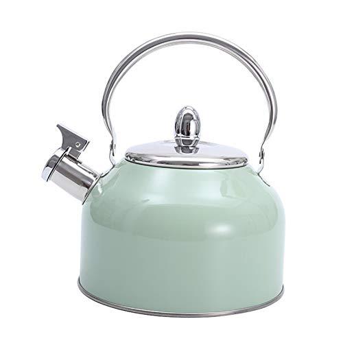 K.W Hervidor de té de la Estufa de silbido Verde de 2.5 Cuarto de galón de Menta, Adecuado para la Cocina de inducción, Estufa de Gas, etc. (Color : Mint Green, tamaño : 2.5L)